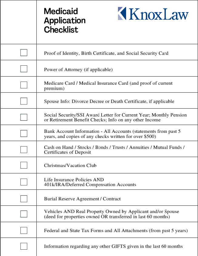 chart showing checklist for medicaid application