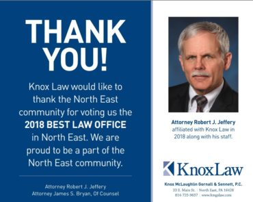 Image of an ad used for 2018 Best Law Office award from North East News-Journal
