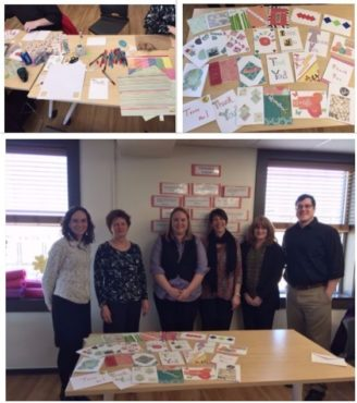 Photo collage from 2017 card decorating at YMCA