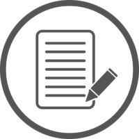 decorative icon of a generic document and pen