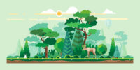 decorative image of a forest ecosystem with trees and animals