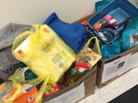 Photo of donations Knox Law employees made to animal shelters