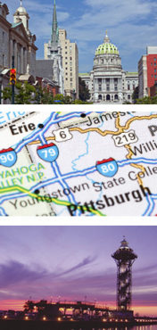 collage of photos with PA state capital building, map showing Erie and Pittsburgh, and Erie Bicentennial tower