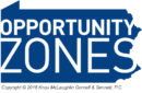 Opportunity Zones words on shape of the Commonwealth Pennsylvania - logo